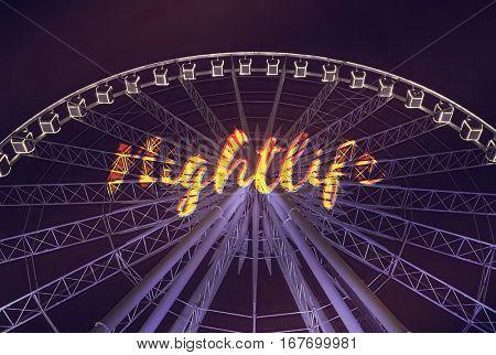 Ferris Wheel Night Amusement Attraction