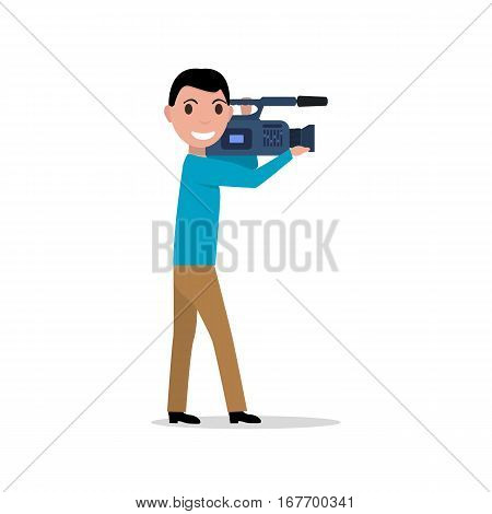 Vector illustration of a cartoon professional videographer with a videocamera. Isolated on white background. Man with the video camera. Male video operator profession. Flat style.