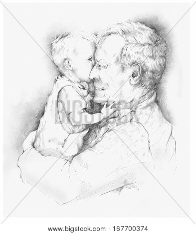 Pencil drawing of a grandfather with grandchild poster