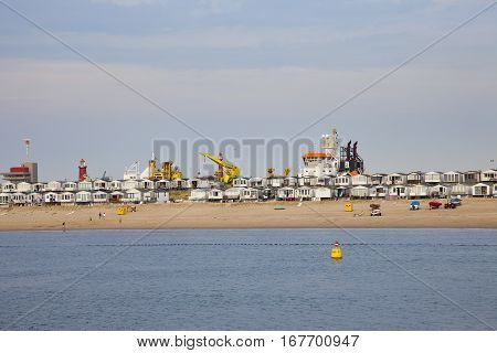 VELSEN THE NETHERLANDS - July 7 2014: View at typical beach houses in Velsen The Netherlands