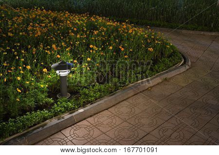 Small Garden Lamp On Surrounded Yellow Daisy Flowers Next To Curve Foot Path In The Park With Lake V