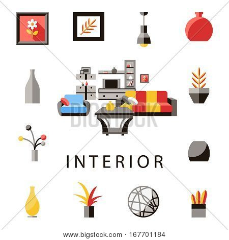 PrintBig detailed Interior set. Flat vector stock illustration.