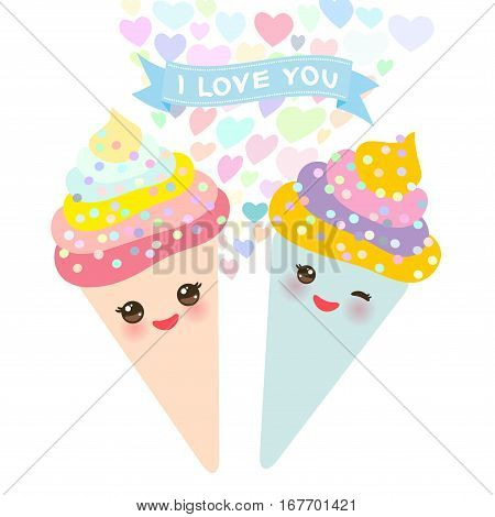 I love you Card design with Kawaii Ice cream waffle cone funny muzzle with pink cheeks and winking eyes pastel colors on white background. Vector illustration poster