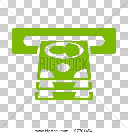 Cashpoint icon. Vector illustration style is flat iconic symbol eco green color transparent background. Designed for web and software interfaces.