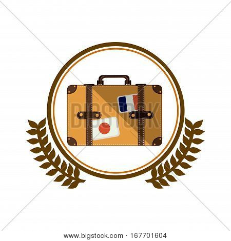 colorful silhouette circle with decorative olive branch and suitcase vector illustration