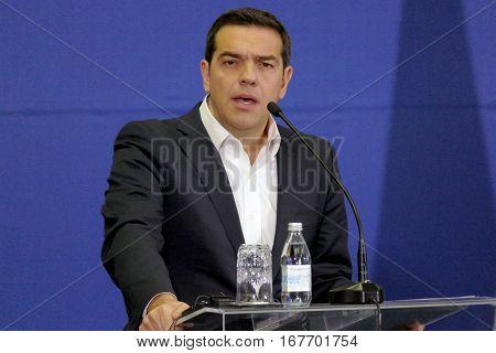 Belgrade, Serbia. January 31St - Greece Prime Minister Alexis Tsipras And Serbian Prime Minister Ale