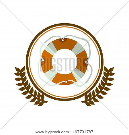 colorful silhouette circle with decorative olive branch and flotation hoop vector illustration