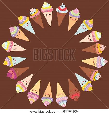 Card Design For Your Text, Banner Template With Round Frame, Kawaii Funny Ice Cream Waffle Cone, Muz