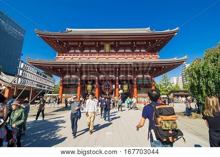 TOKYOJAPAN - OCTOBER 20 2016 : Tourist at Asakusa Sensoji-ji Temple on 20 Ocotber 2016. Sensoji-ji Temple in Asakusa is the most famous temple in tokyo.