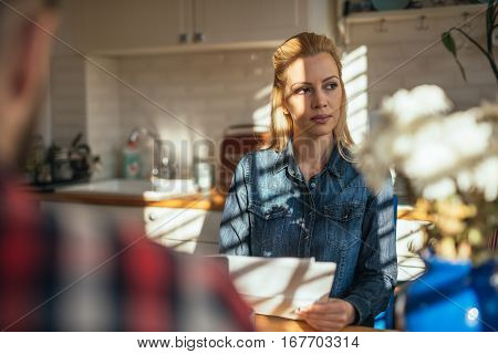 Attractive woman thinking about new options in business.