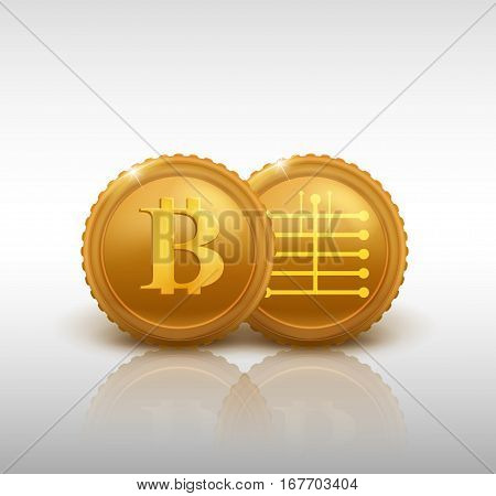 two bitcoins - bit coin BTC the new virtual money, vector illustration.