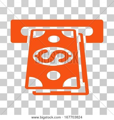 Cash Withdraw icon. Vector illustration style is flat iconic symbol orange color transparent background. Designed for web and software interfaces.