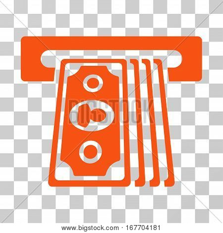 Cashpoint Terminal icon. Vector illustration style is flat iconic symbol orange color transparent background. Designed for web and software interfaces.