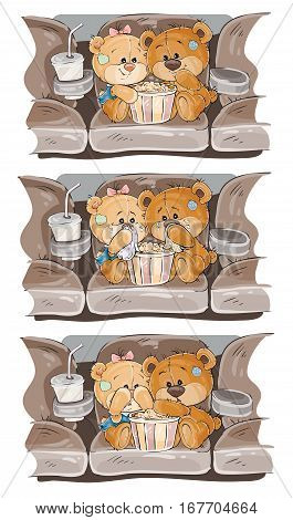 Set of vector clip art illustrations of enamored teddy bears. Teddy Bears are watching a movie