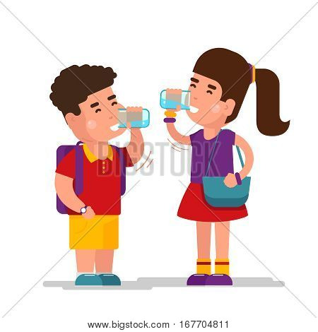 Girl drink blue refreshing relax water and boy drinking from clean glass vector illustration. Girl and boy drink fresh and clean water