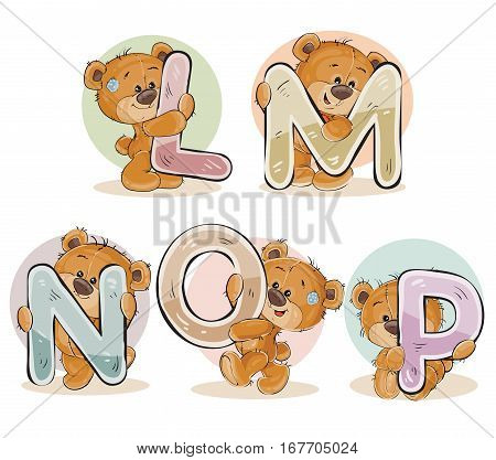 Set of vector letters of the English, the Latin alphabet are in the clutches of funny teddy bear. Part 3 - the letters L, M, N, O, P
