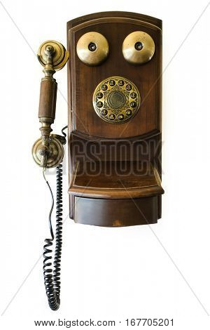 Antique wood telephone telephone on white background