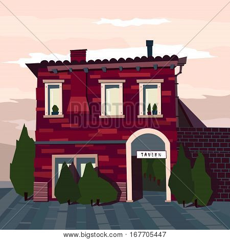 Catroon tavern building hand drawn vector illustration