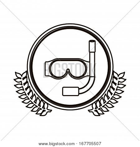 black contour circle with decorative olive branch and snorkeling equipment vector illustration