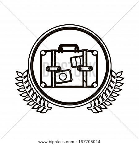 black contour circle with decorative olive branch and suitcase vector illustration