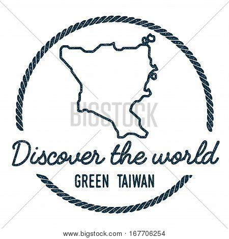 Green Island, Taiwan Map Outline. Vintage Discover The World Rubber Stamp With Island Map. Hipster S
