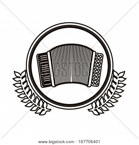 black contour circle with decorative olive branch and accordion with keyboard vector illustration