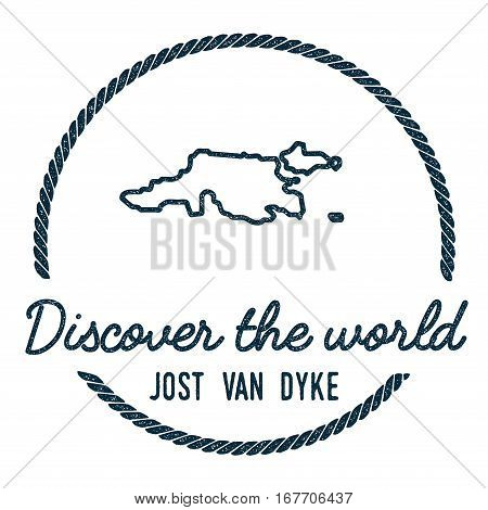 Jost Van Dyke Map Outline. Vintage Discover The World Rubber Stamp With Island Map. Hipster Style Na