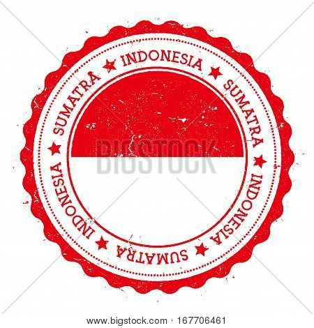 Sumatra Flag Badge. Vintage Travel Stamp With Circular Text, Stars And Island Flag Inside It. Vector