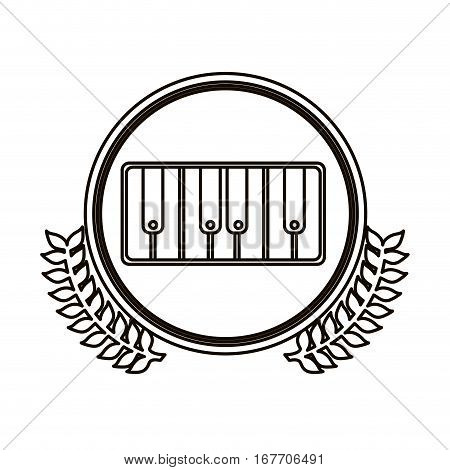black contour circle with decorative olive branch and piano keyboard vector illustration
