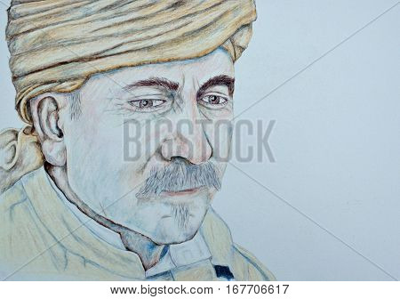 Colored pencil drawing of  a man wearing turban