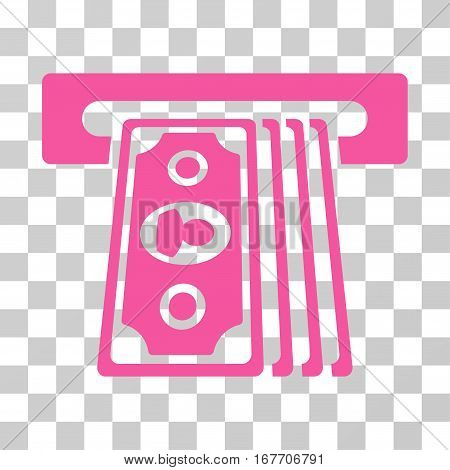 Cashpoint Terminal icon. Vector illustration style is flat iconic symbol pink color transparent background. Designed for web and software interfaces.