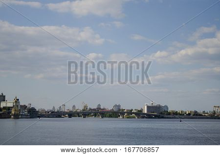 Summer 2016 Ukraine Kiev Dnipro River with a view of the Kiev tour karabl