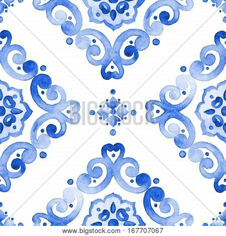 Watercolor moroccan blue seamless pattern indigo renaissance tiling ornament. Royal blue abstract filigree background. Delicate sapphirine openwork lace pattern. Cobalt blue revival tracery design.