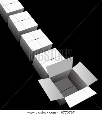 A line of shipping or storage boxes/cartons, one is ready to contain your product image or text. On black.