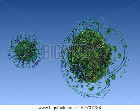 The abstract three-dimensional figures of computer software fractal modeling. Space planetary fractal type design.