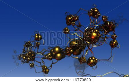 The abstract three-dimensional figures of computer software fractal modeling. Ball fractal type design in gold.