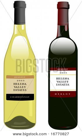 Classic, attractive bottles of wine. Bordeaux shape for red, Rhone shape for white.
