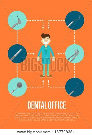 Dental office banner with male dentist in blue medical uniform standing on orange background with round instrument icons. Healthy clean teeth. Dental treatment and hygiene. Tooth care and restoration