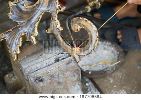 Copper Handicraft And Fine Art Products Is Being Made Manually By Worker In Dai Bai Traditional Folk