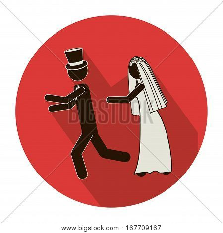 circular shape pictogram of wife chasing husband vector illustration