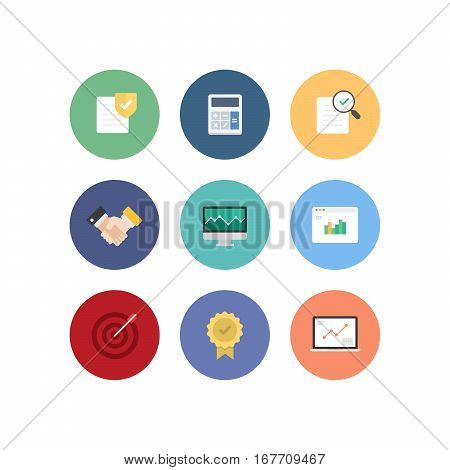 Colorful Finance Business Vector Flat Icon Set