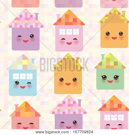 Funny happy house set kawaii face smile pink cheeks big eyes. seamless pattern pastel colors. Vector illustration
