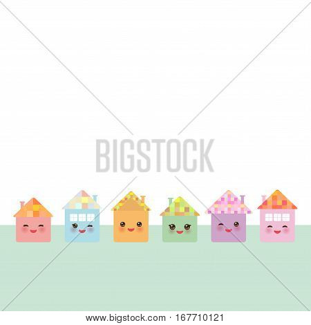 Banner for your text. Funny happy house set kawaii face smile pink cheeks big eyes. pastel colors. Vector illustration