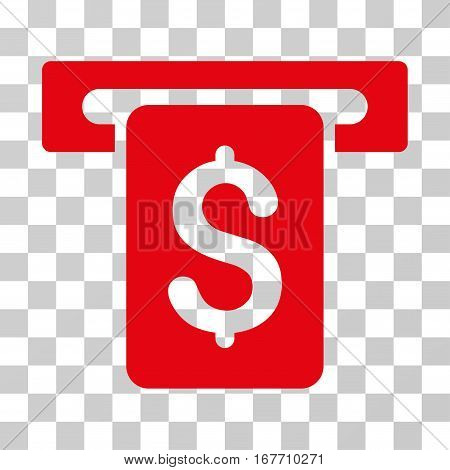 Cash Withdraw icon. Vector illustration style is flat iconic symbol red color transparent background. Designed for web and software interfaces.