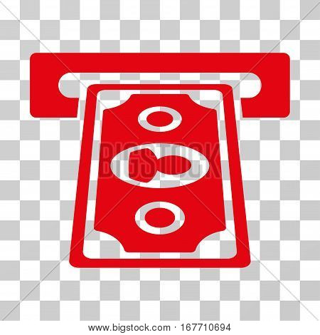 Cashpoint Terminal icon. Vector illustration style is flat iconic symbol red color transparent background. Designed for web and software interfaces.