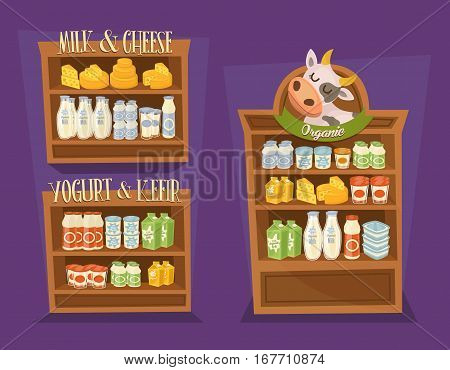 Dairy products set. Supermarket shelves with cheese, kefir, milk, yoghurt and other dairy products, vector illustration. Nutritious and natural healthy food. Organic farmers products. Shop interior