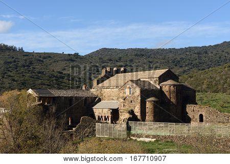 Old romanesque monastery (late eighth century) Sant Quirze de Colera Alt Emporda Girona province Catalonia Spain