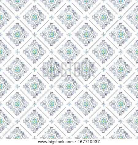 Watercolor filigree seamless pattern renaissance tile ornament. Delicate pastel openwork lace pattern. Soft gray blue and green moroccan tracery design