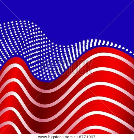 Stars united into one, symbols of the states in an American flag abstract of the Red, White and Blue.