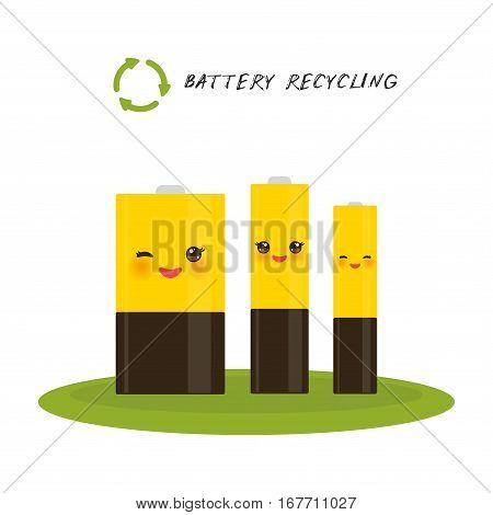 battery Recycling set of three batteries smiling and winking eye. Vector illustration